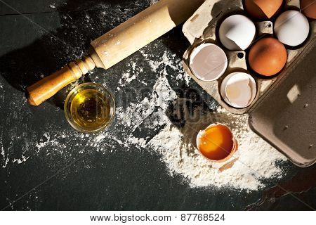 How To Cook Dough. Ingredients on Black Board