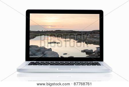 Laptop With Landscape  Sam Phan Bok
