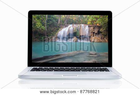 Laptop With Landscape Erawan Waterfall
