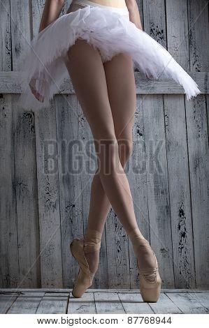 Young legs graceful ballerina.