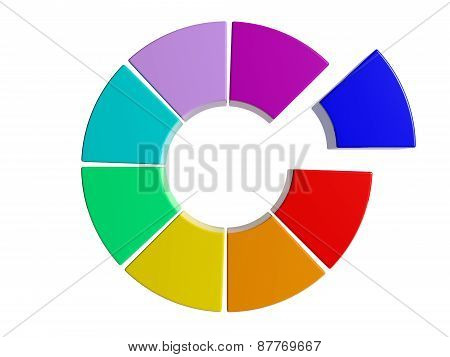colorful color 3d pie chart graph