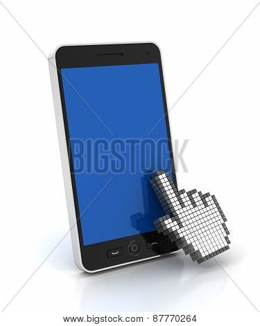 Hand cursor clicking a mobile phone with copyspace, 3d render