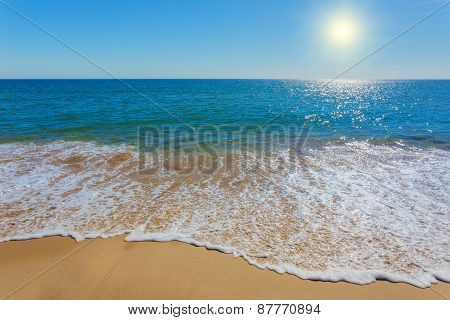 Unearthly Beach With Clear Waters. Frame For Inscriptions On The Sand.