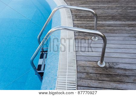 Place Descent Into The Pool. Railings And Stair.