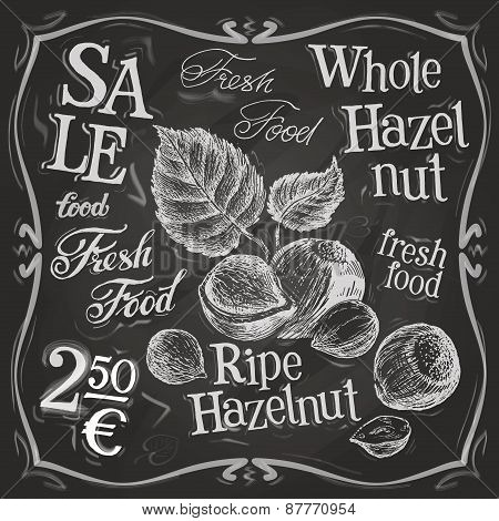 hazelnut, walnut, nut vector logo design template. fresh food or menu board icon.