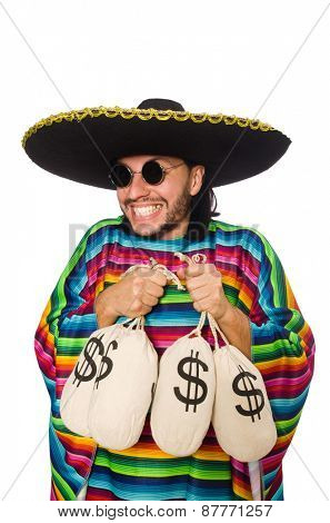 Handsome man in vivid poncho holding money bags isolated on white
