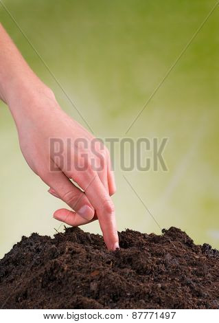 Woman hand seeding seed into pile of soil