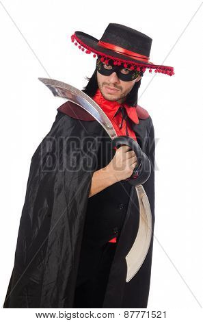 Young man in carnival coat with sword isolated on white