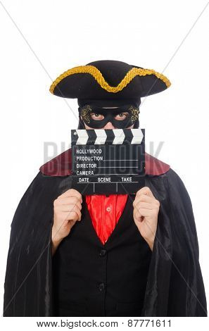 Young man in carnival coat with clapper isolated on white