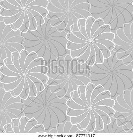 Vector Seamless Gray Background With A Flowers