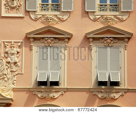 House With Old French Grey Shutter Windows In Monaco