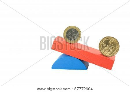 Euro And  Us Dollar Coin Concept