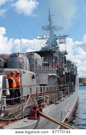 SEVASTOPOL, CRIMEA, UKRAINE - AUGUST 17, 2012: Seamen on the deck of Russian frigate