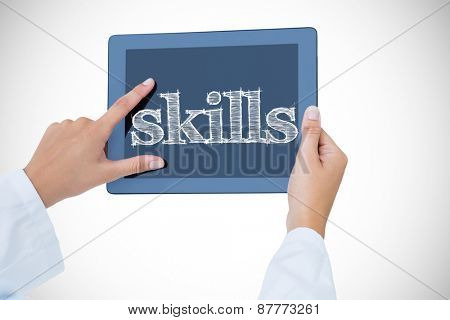 The word skills against doctor using tablet pc