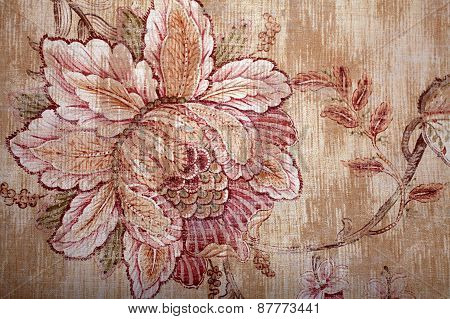 Vintage Shabby Chic Brown Wallpaper With Floral Victorian Pattern