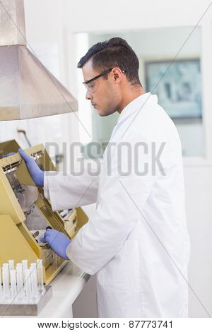 Scientist using technology for research in the lab