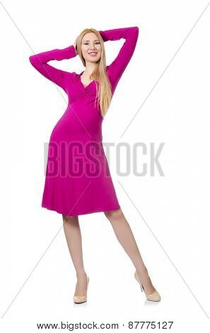 Pretty pregnant woman in pink dress isolated on white