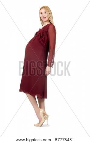 Pretty pregnant woman in red dress isolated on white