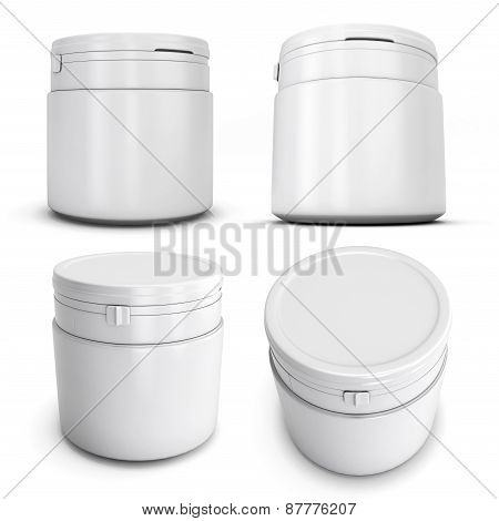 Set Of Template White Plastic Can For Products