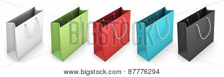 Set Of Color Shopping Bags On A White