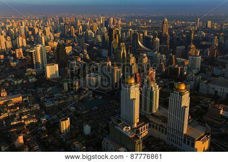 Bangkok Thailand skyline aerial view
