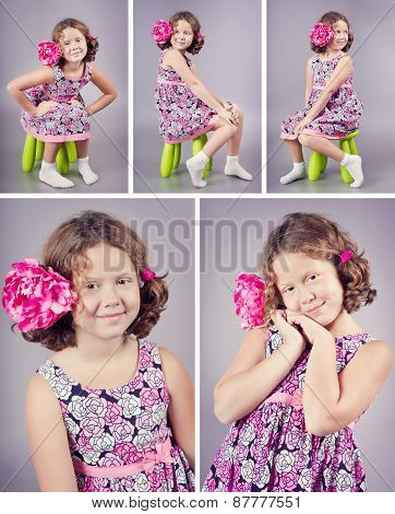 Studio Portrait Of A Beautiful Girl With A Pink Flower In Her Curly Hair. Set Of Photos, Collage