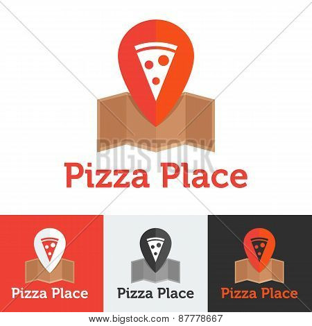Vector flat pizza restaurant or delivery logo set