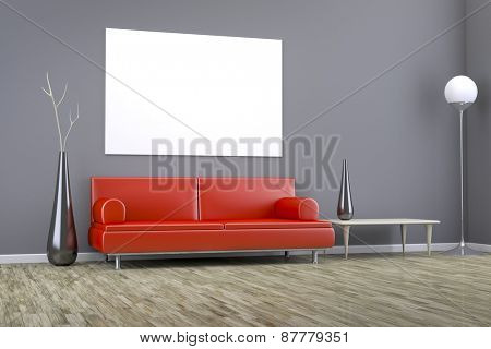 3D rendering of a grey room with a red sofa and space for your content