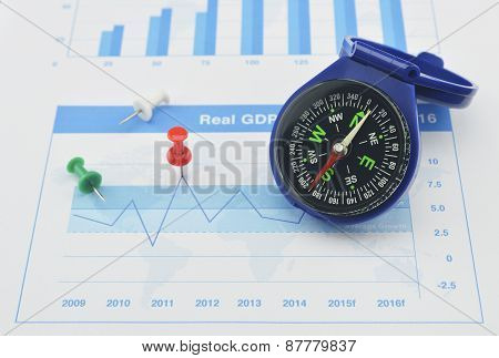 Blue Compass And Pin On Graph Paper, Success Concept