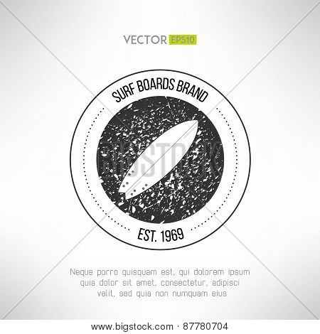 Surfboard label logo made in modern grunge vintage design. T-shirt print. Surfing banner. Vector ill
