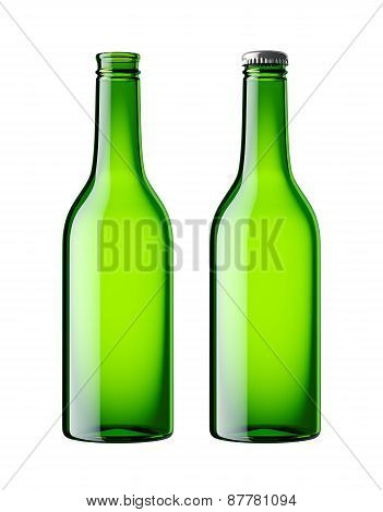 Green bottle isolated