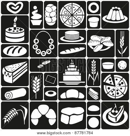 Baking Icons On Black