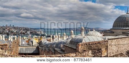 view from Suleymaniye mosque to Bosphorus,  Istanbul