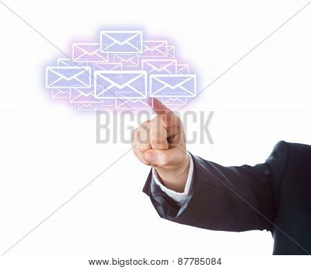 Arm Aiming At Many Email Icons Forming A Cloud