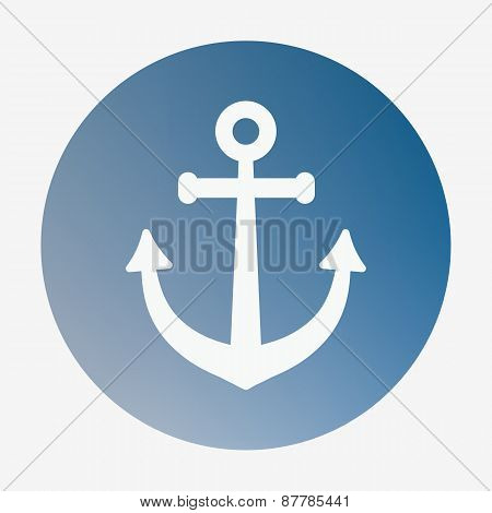 Pirate or sea icon, anchor. Flat style vector illustration