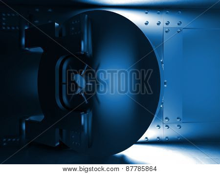 3d illustration of huge vault door