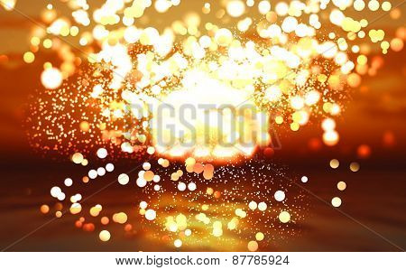 Abstract background of a sunset ocean with bokeh lights