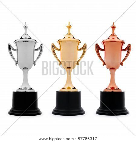Three Trophy Cups In Gold, Silver And Bronze
