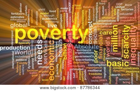 Background text pattern concept wordcloud illustration of poverty glowing light