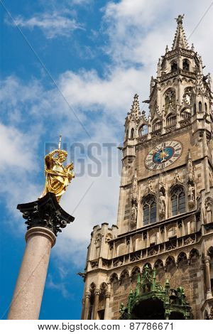 New Townhall And A Golden Statue Of Virgin Mary In Munich