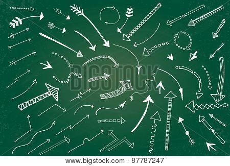 Hand drawn arrow icons set on green chalk board. Vector Illustration