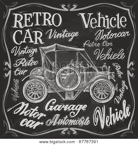 retro car vector logo design template.  vehicle, automobile or motorcar, transport icon.