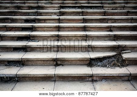 Old Broken Concrete Staircase Step