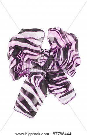 Silk Scarf. Lilac Silk Scarf Folded Like Bowknot