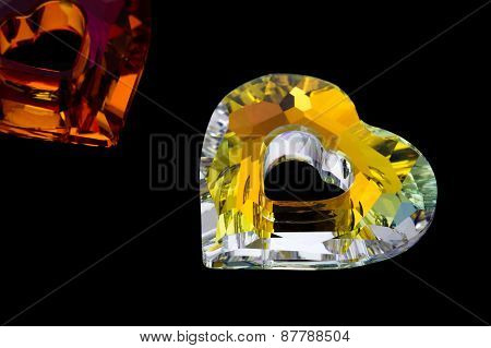 Gemstone In The Shape Of Heart On Black Background