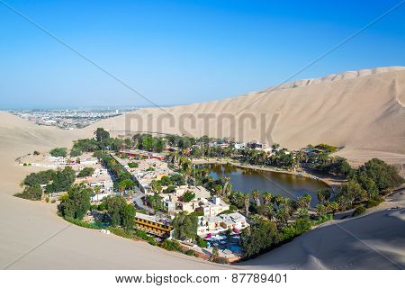 Huacachina With Ica In The Background