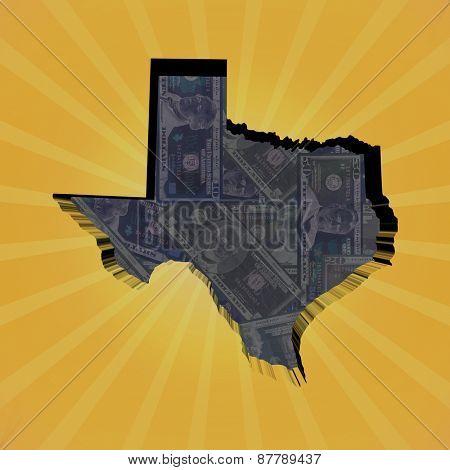 Texas map on dollars sunburst illustration