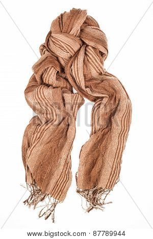 Silk Scarf. Beige Silk Scarf Isolated On White Background