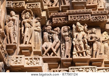 Stone Carved Erotic Sculptures On Lakshmana Temple. Khajuraho