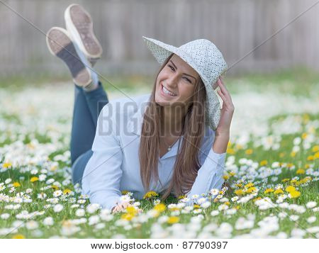 Young Teenage Girl In A Natural Idyllic Environment